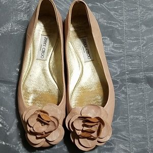 Jimmy Choo leather flower shoes